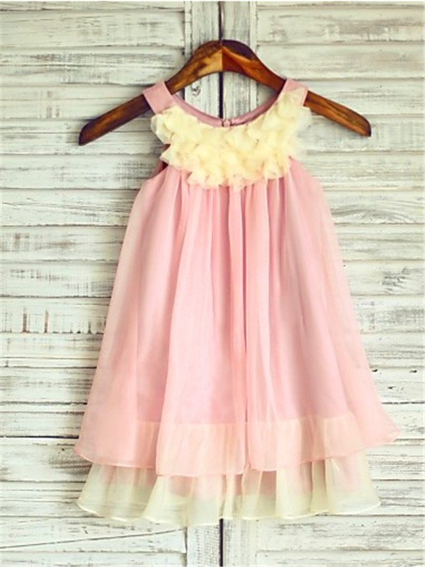 A-line/Princess Straps Ruched Tea-Length Chiffon Flower Girl Dress