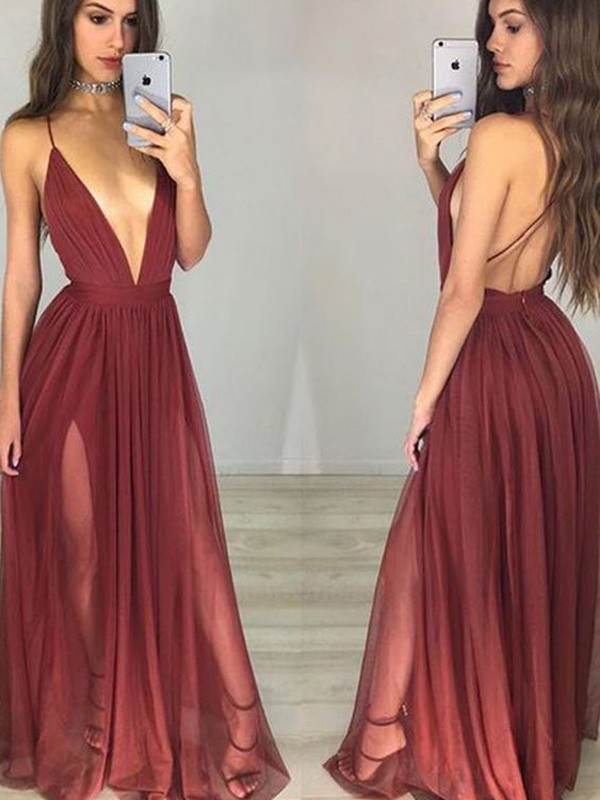 A-Line/Princess Spaghetti Straps Chiffon Floor-Length Ruched Dress