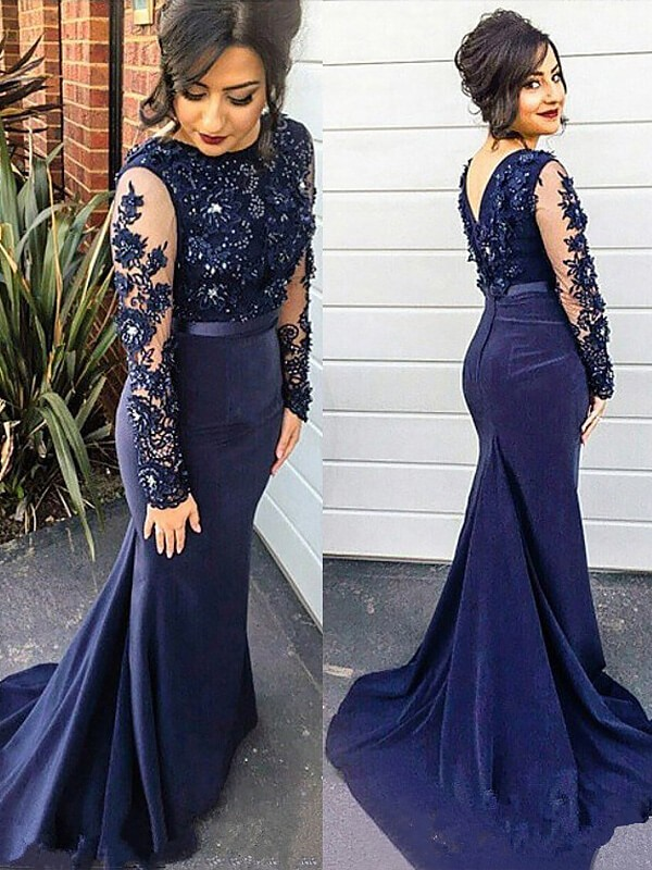 Trumpet/Mermaid Lace Silk like Satin Scoop Sweep/Brush Train Long Sleeves Plus Size Dress