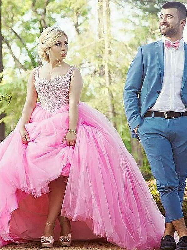 Ball Gown Sweetheart Tulle Sweep/Brush Train Pearls Plus Size Dress