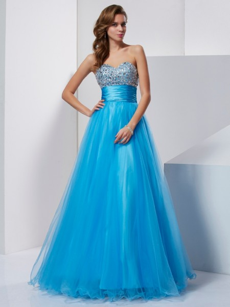 A-Line/Princess Sweetheart Beading Dress with Tulle