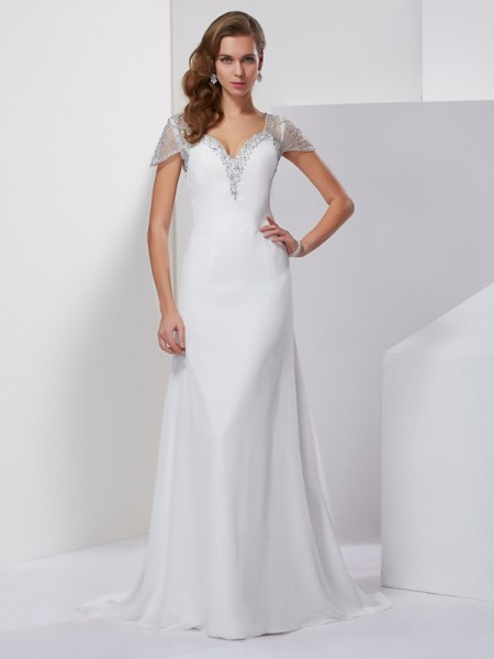 A-Line/Princess Sweetheart Short Sleeves Applique Beading Dress with Long Chiffon