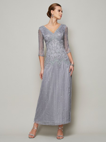 Sheath/Column V-neck 1/2 Sleeves Beading Long Elastic Woven Satin Mother of the Bride Dress