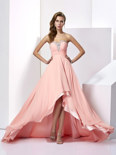 A-Line/Princess Sweetheart Long Beading Chiffon Dress
