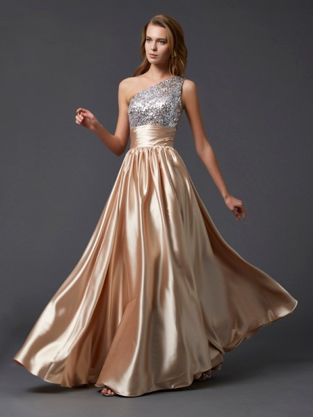A-Line/Princess One-Shoulder Paillette Long Elastic Woven Satin Dress