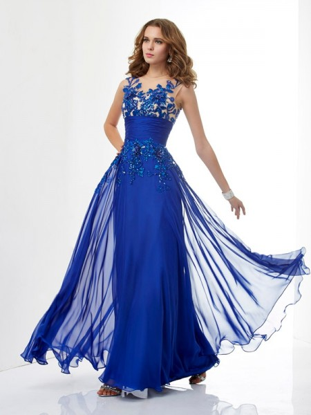 A-Line/Princess High Neck Beading Dress with Long Chiffon