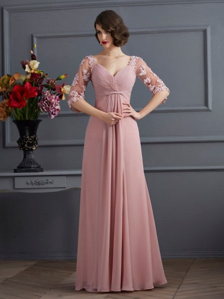 A-Line/Princess Sweetheart 1/2 Sleeves Beading Dress with Long Chiffon