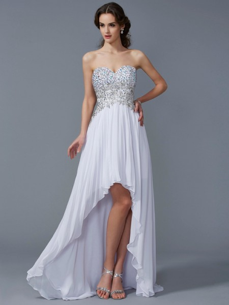 A-Line/Princess Sweetheart Beading High Low Chiffon Dress