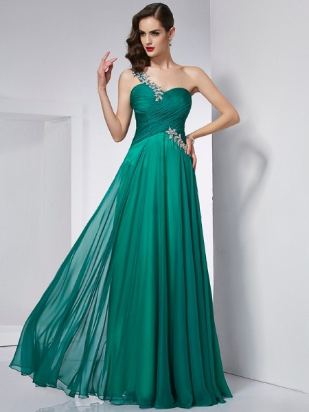 A-Line/Princess One-Shoulder Dress with Long Chiffon