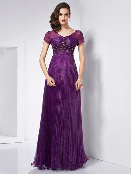 A-Line/Princess V-neck Short Sleeves Beading Long Organza Dress