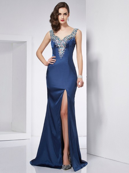 Trumpet/Mermaid Straps Beading Long Elastic Woven Satin Dress