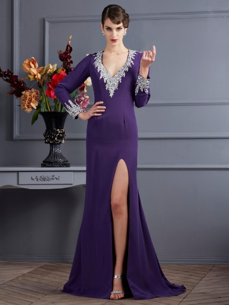 Trumpet/Mermaid V-neck Long Sleeves Beading Dress with Long Chiffon
