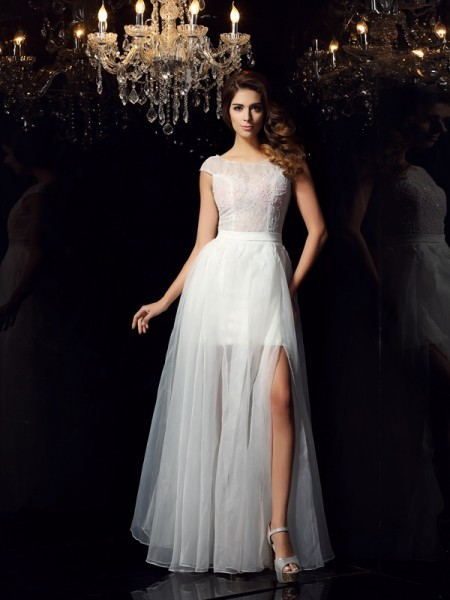 A-Line/Princess Scoop Beading Short Sleeves Long Tulle Dress