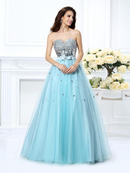 Ball Gown Sweetheart Beading Paillette Long Satin Quinceanera Dress