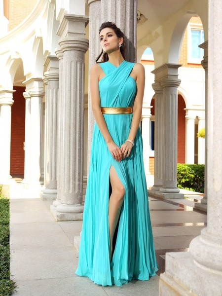 A-Line/Princess Pleats Dress with Long Chiffon