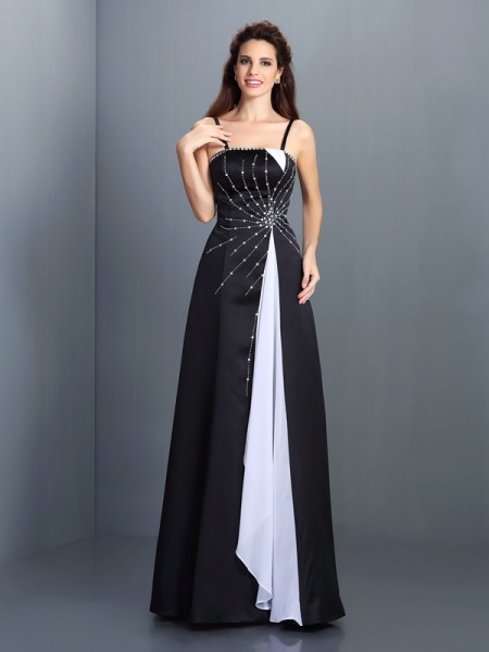 A-Line/Princess Spaghetti Straps Dress with Long Chiffon