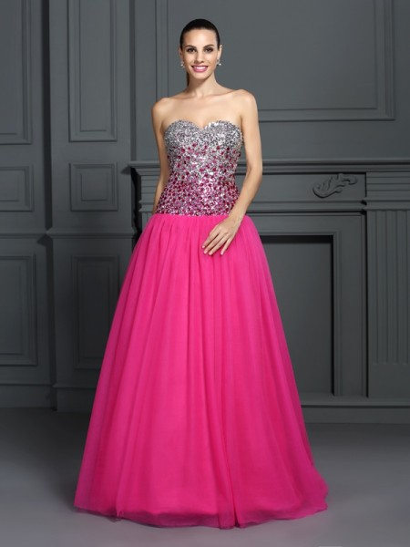 Ball Gown Sweetheart Long Organza Quinceanera Dress