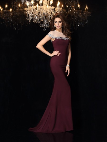 Trumpet/Mermaid High Neck Applique Long Elastic Woven Satin Dress