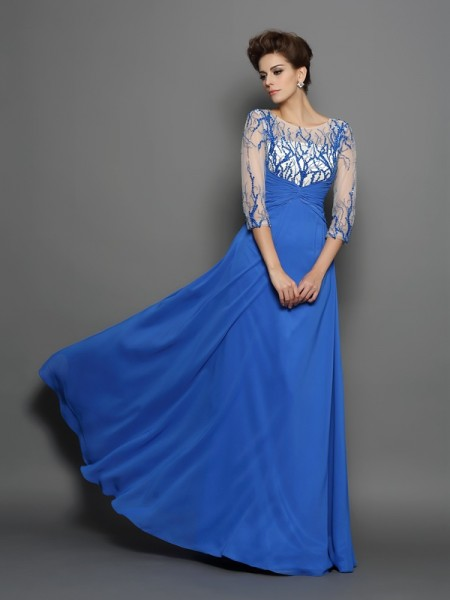 A-Line/Princess Scoop Applique 1/2 Sleeves Dress with Long Chiffon