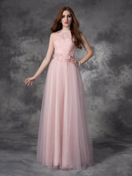 A-line/Princess Bateau Long Net Dress