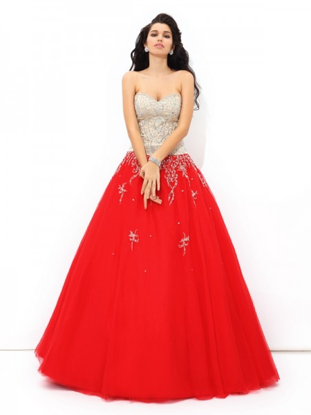 Ball Gown Sweetheart Beading Satin Quinceanera Dress