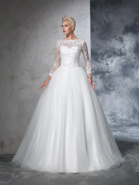 Ball Gown Bateau Lace Long Sleeves Long Net Wedding Dress