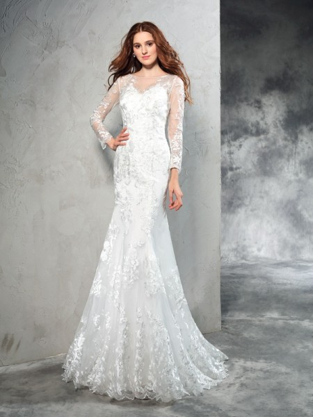 Sheath/Column Sheer Neck Lace Long Sleeves Long Net Wedding Dress