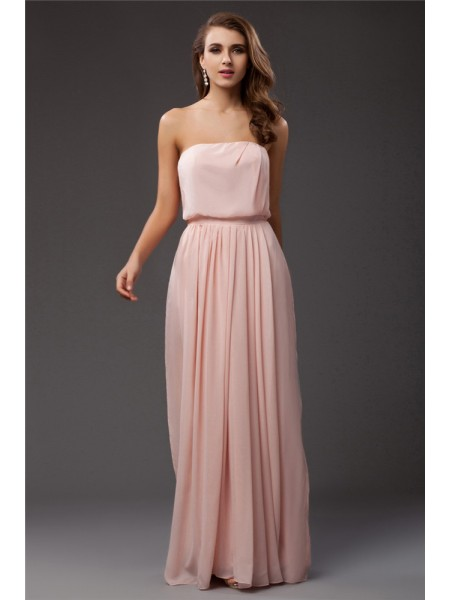 Sheath/Column Strapless Ruffles Chiffon Dress