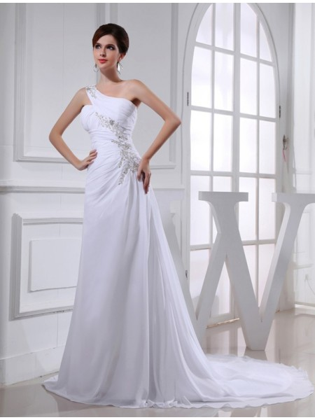 A-Line/Princess One-shoulder Chiffon Applique Wedding Dress