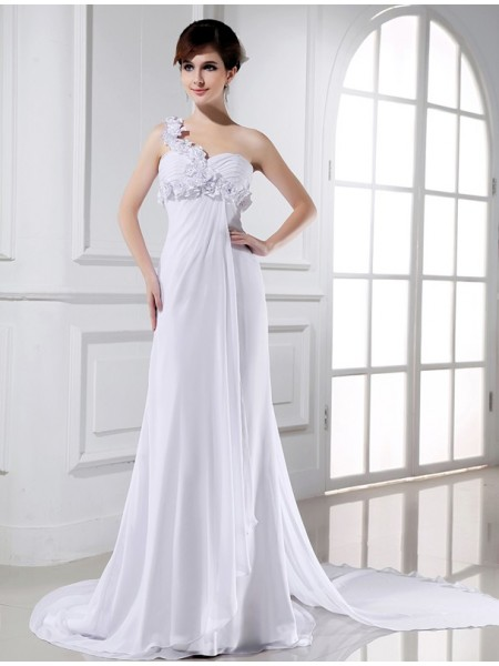 A-Line/Princess One-shoulder Chiffon Wedding Dress