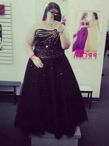 Ball Gown One-Shoulder Beading Floor-Length Tulle Plus Size Dress
