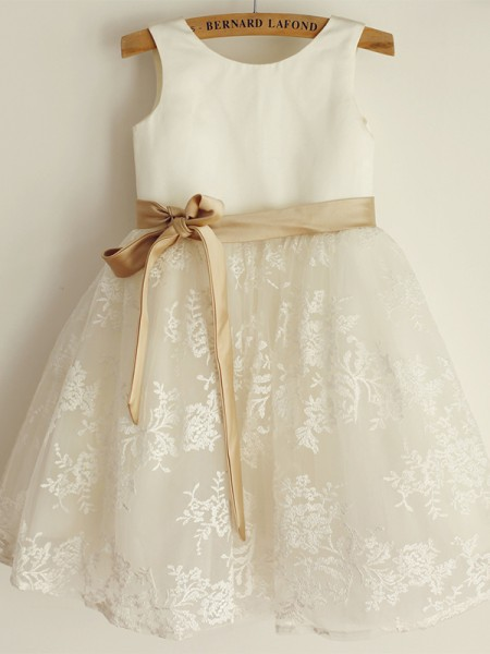 A-Line/Princess Sleeveless Scoop Tulle Lace Knee-Length Flower Girl Dresses