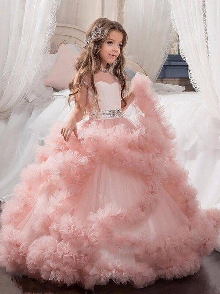Ball Gown Jewel Crystal Floor-Length Tulle Flower Girl Dress