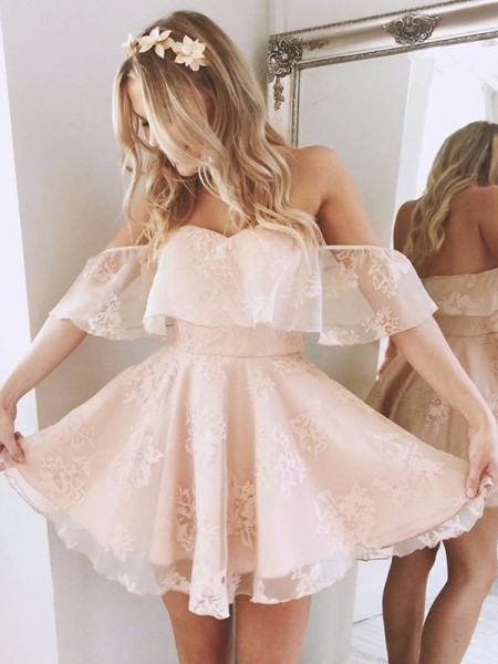 A-Line/Princess Off-the-Shoulder Short/Mini Dress with Lace