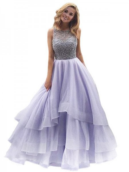 Ball Gown Scoop Floor-Length Organza Dress