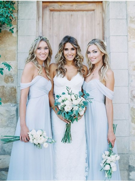 A-Line/Princess Off-the-Shoulder Chiffon Bridesmaid Dress